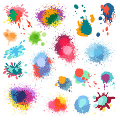 Vector ink paint splat, paint splashes color background.
