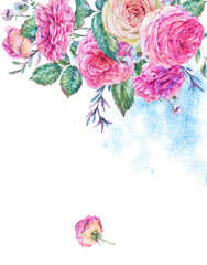 Watercolor vertical frame with english roses