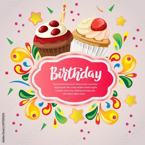 Colorful Birthday Card With Berry Cupcakes Stock Image And Royalty
