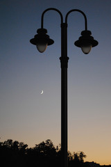 Vintage street lamp and the moon