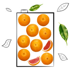 Fruit composition with fresh grapefruit and cartoon cute doodle drawing pack of juice on white background. Creative minimalistic food concept.