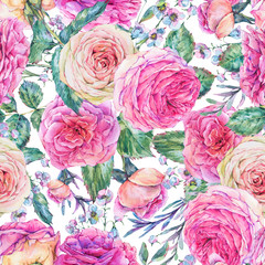 Nature seamless pattern with roses