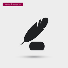 Feather with ink icon. Simple pen element illustration. School symbol design from education collection. Can be used in web and mobile.