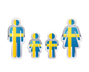 Glossy metal badge icon in man, woman and childrens shapes with Sweden flag, infographic element on white