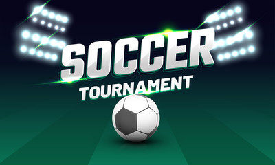 Soccer tournament text with soccer ball and flud lights on playing ground.