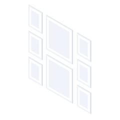 Set of isometric photo frames.