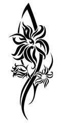 Black flower tribal tattoo