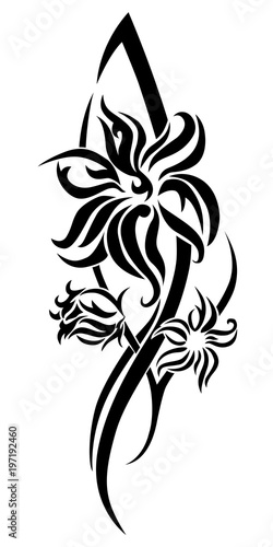 d4de2b9c103a6 Black flower tribal tattoo