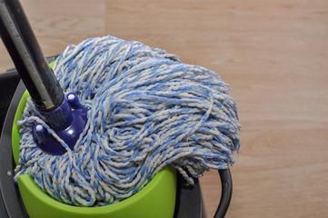 mop in the scrubbing bucket
