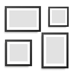 Set of black photo frames. Vector.