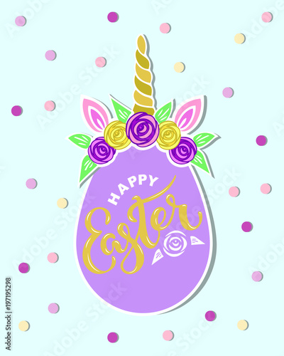 hand drawn lettering easter as logo badge icon template for happy