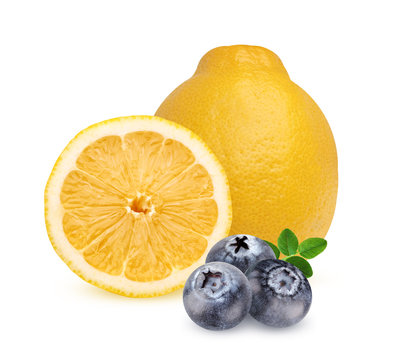 Lemon and blueberries, isolated on a white background.