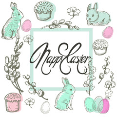 Easter card with rabbits and willow