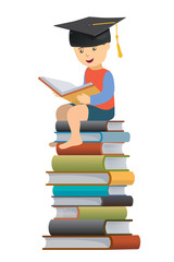 Little Boy reader Wearing A Mortar Board. Little Boy Wear a Mortar Board, sitting on a pile of books.Concepts for Education. Vector available.