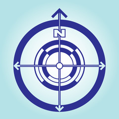North direction sign on a light blue background. Orientation on the sides of the world. Vector flat design.