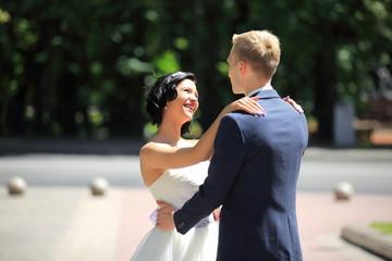 portrait of happy couple in wedding day
