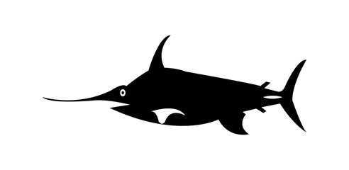 Simple black swordfish silhouette, isolated on white background