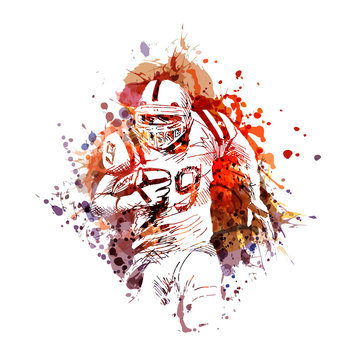Vector color illustration of American football player