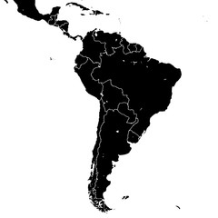 South America silhouette vector map