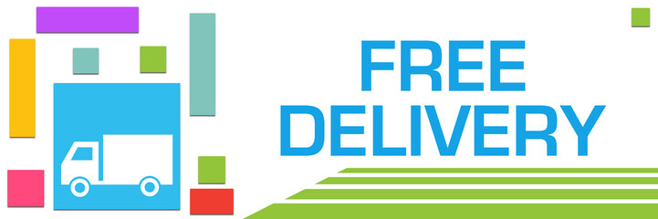 Free Delivery Colorful Squares Left