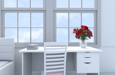 Bed room of love decor with red rose, glass vase,white wood,pink chair, window,desk,book and bed. Valentine`s Day. Background and interior. The sun shines through the window into the shadow 3D render