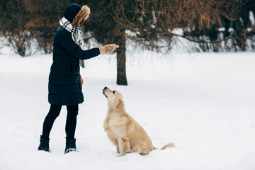 Picture of woman with labrador on walk in winter park