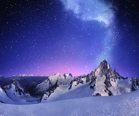 mountain landscape under clear starry sky