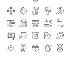 Graphic Design Well-crafted Pixel Perfect Vector Thin Line Icons 30 2x Grid for Web Graphics and Apps. Simple Minimal Pictogram