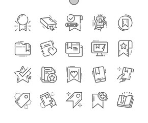 Bookmarks & Tags Well-crafted Pixel Perfect Vector Thin Line Icons 30 2x Grid for Web Graphics and Apps. Simple Minimal Pictogram