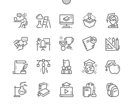 Education Well-crafted Pixel Perfect Vector Thin Line Icons 30 2x Grid for Web Graphics and Apps. Simple Minimal Pictogram