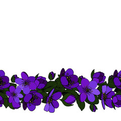 Floral seamless pattern brush. Floral border.