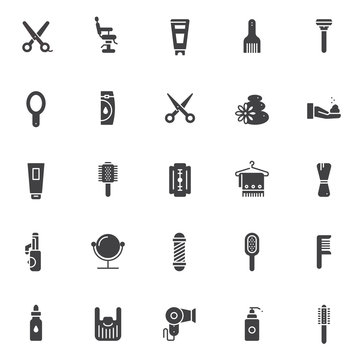 Barber accessories vector icons set, modern solid symbol collection, filled pictogram pack. Signs, logo illustration. Set includes icons as scissors, barber shop chair, hairbrush, razor, hand mirror