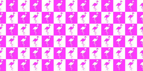 Silhouette of a flamingo geometric seamless pattern. Silhouette of flamingos in pink and white squares