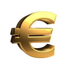 euro symbol golden 3d rendering isolated