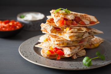 mexican quesadilla with chicken tomato corn cheese