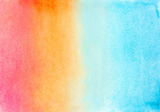 pin, peach, orange and blue watercolor ombre color background. hand draw illustration . colored like turquoise, red