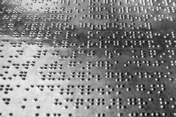 Braille code for blind on the stainless steel board