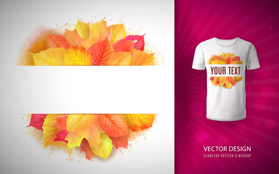 Vector watercolor autumn leaves wreath with place for text as a pattern on a T-shirt.