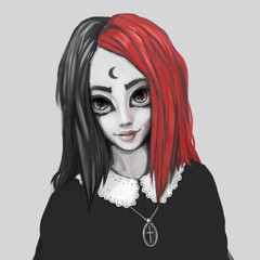 Young woman with black and red hair. Digital painting. Magic style. Dressed in a black pullover with lace collar.