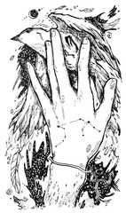 Hand drawn psychedelic illustrations with human hand and bird. can be used like cover, background, tattoo.