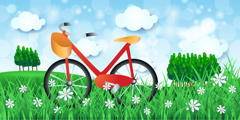 Spring landscape with bicycle and woods