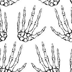 Seamless texture with human skeleton hand. Anatomical drawing. Repeating background. Tile pattern. Ornament with bones.