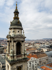 Panoramic view of the city of Budapest from Historische Kirche, St.-Stephans-Basilika in Budapest,