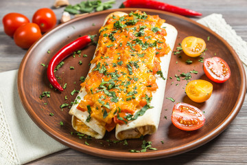 Enchiladas. The national dish of Mexican cuisine. The view from the top.