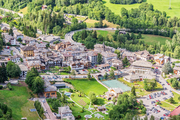 Fototapeten Luftaufnahme Aerial view of Pre Saint Didier, spa resort in Aosta Valley, Italy