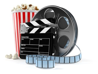 Film reel with popcorn