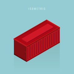 isometric 3D rendering of a red container. Vector illustration
