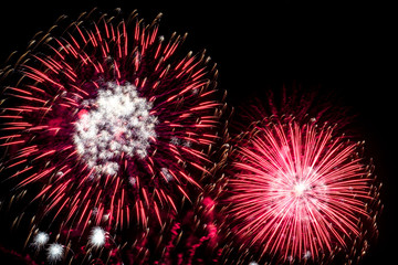 bright red and white fireworks light up the night sky