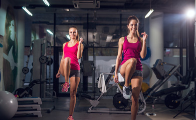 Portrait view of two young happy motivated attractive healthy sporty active slim girls doing exercises and warming with one raised leg in the gym.