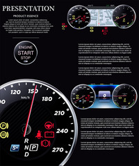 A set of realistic speedometers on a black background
